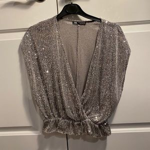 Zara low cut sequin top